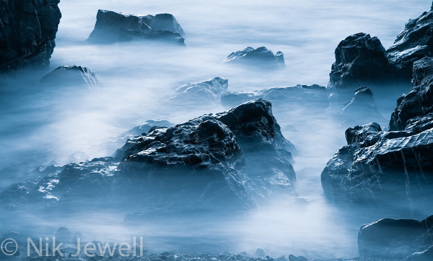 Image of a ghostly looking long exposure sea at Upton Beach