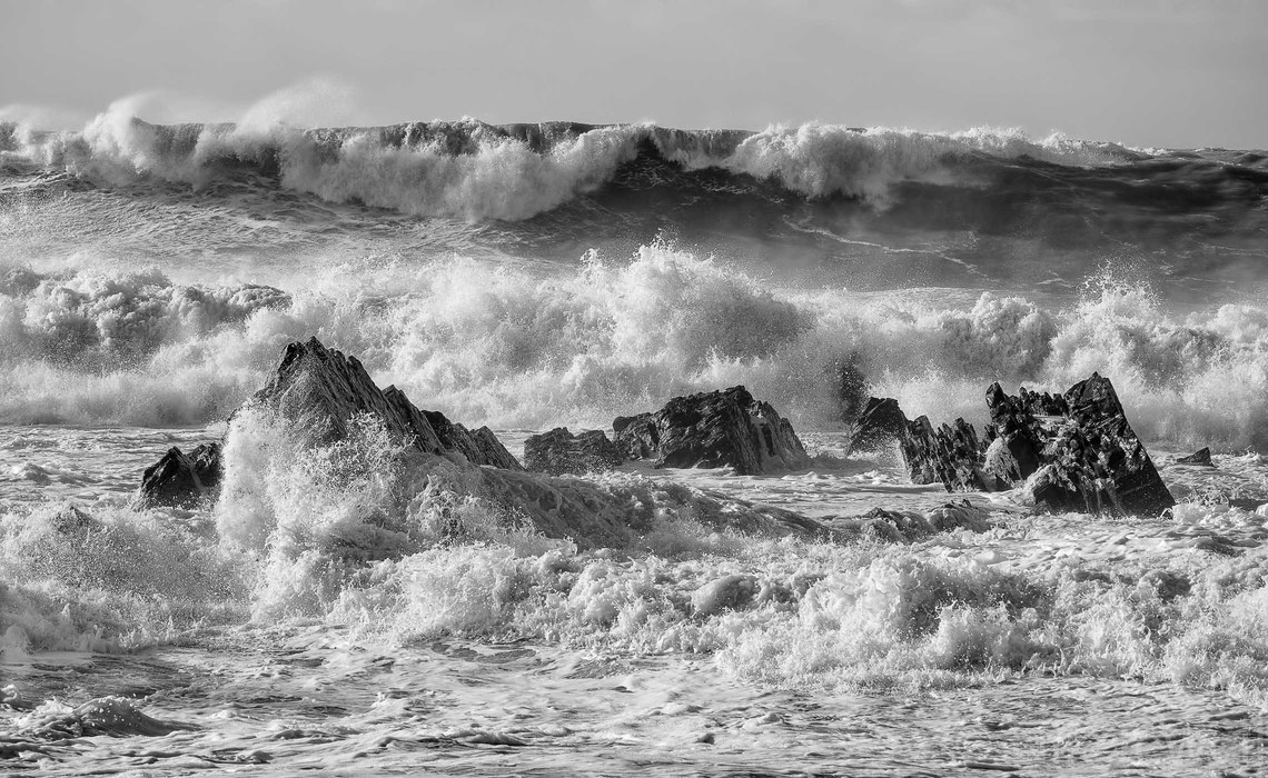 Turbulent waves crashing over rocks at Hartland Quay in North Devon during the storm dubbed 'Atlantic Take Four'.