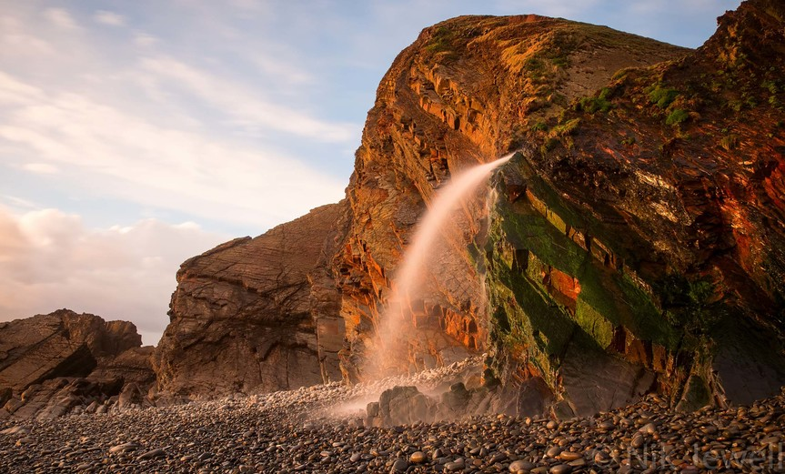 The waterfall at Sandymouth in North Cornwall