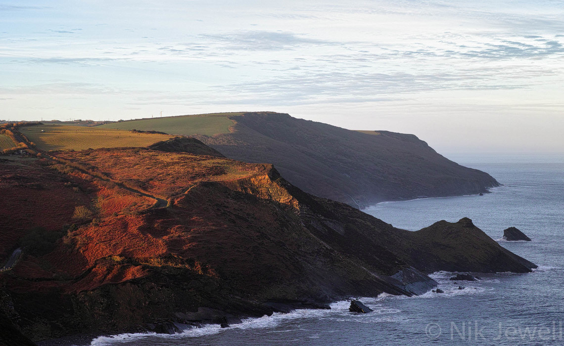 Beautiful light at dawn looking across Millook Haven to The Dizzard from Penhalt Cliff near Bude in North Cornwall