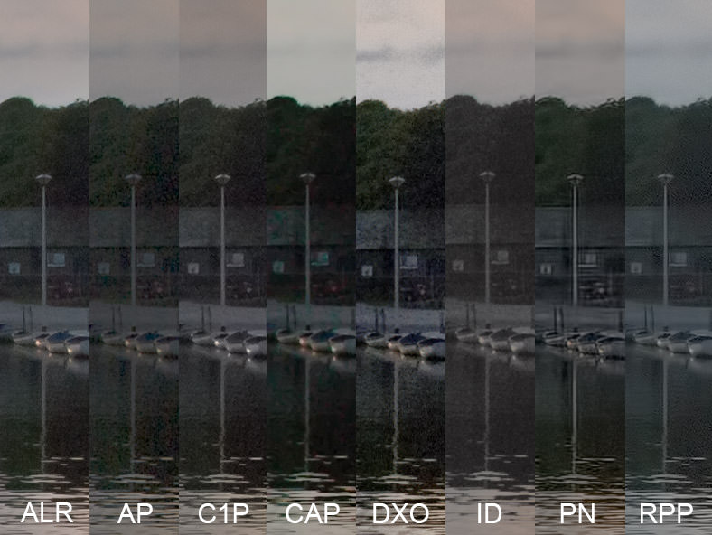 Image showing 1:1 slithers of Bude Canal to illustrate shadow recovery in a RAW Converters Comparison of in Lightroom, Aperture, Capture One Pro, Aftershot Pro, DXO Optics Pro, Irident Developer, Photo Ninja and Raw Photo Processor