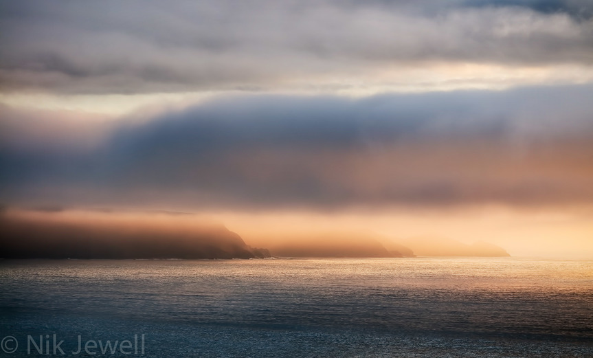 Image of light on the underside of clouds at Widemouth Bay