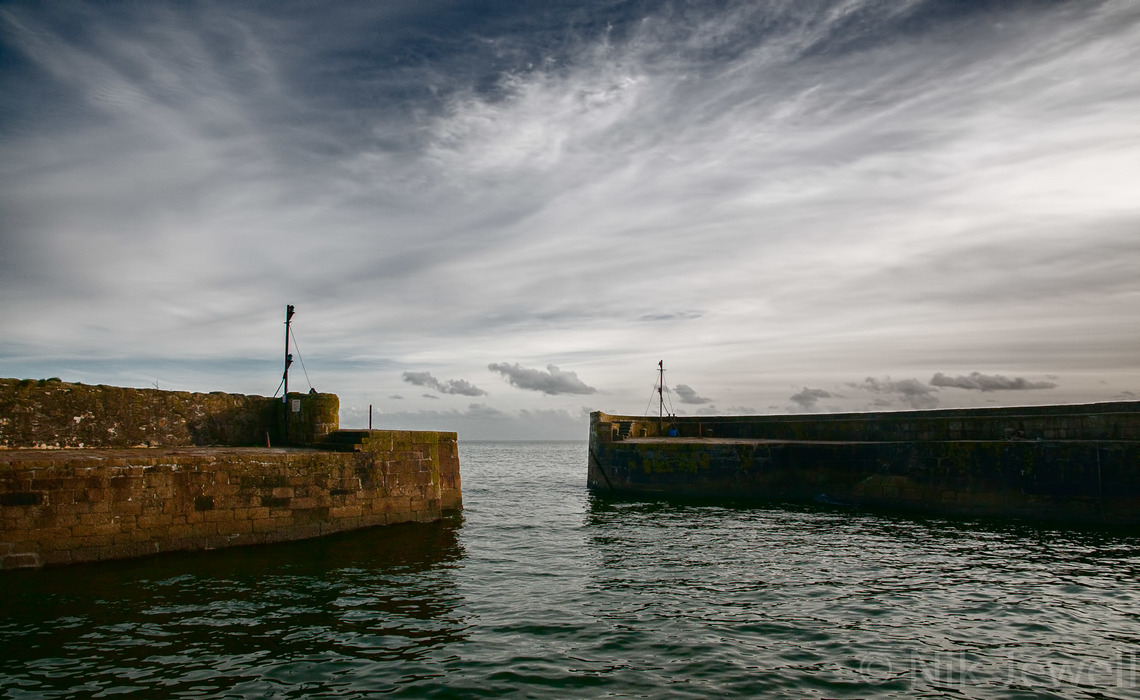 The outer walls of the eighteenth century Charlestown Harbour near St Austell in South Cornwall