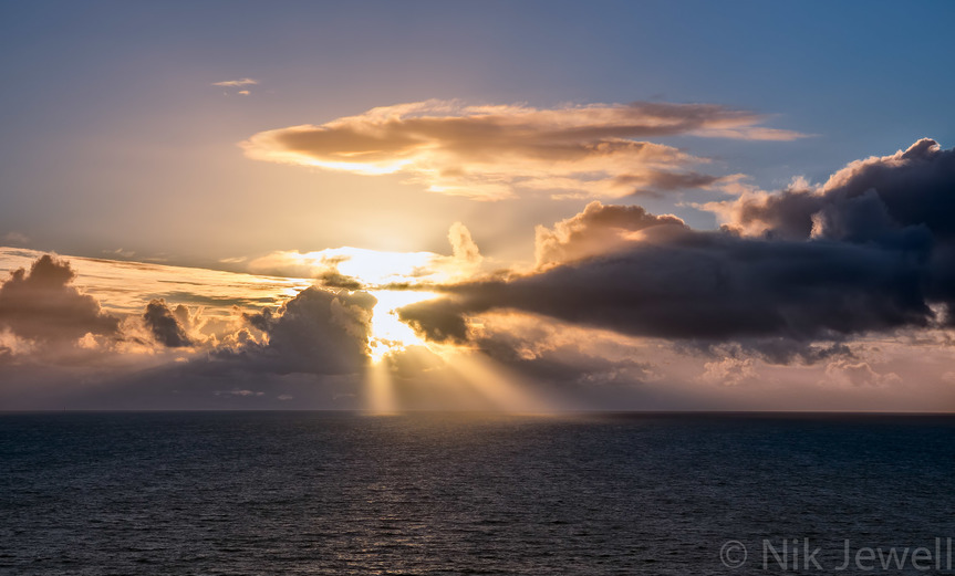 Crepuscular Rays ('Godbeams') taken from Lord Revelstoke's Drive near Gara Point, Noss Mayo, South Devon