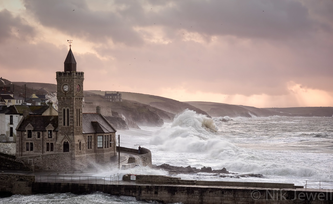 Image of enormous shore break on the beach at Porthleven