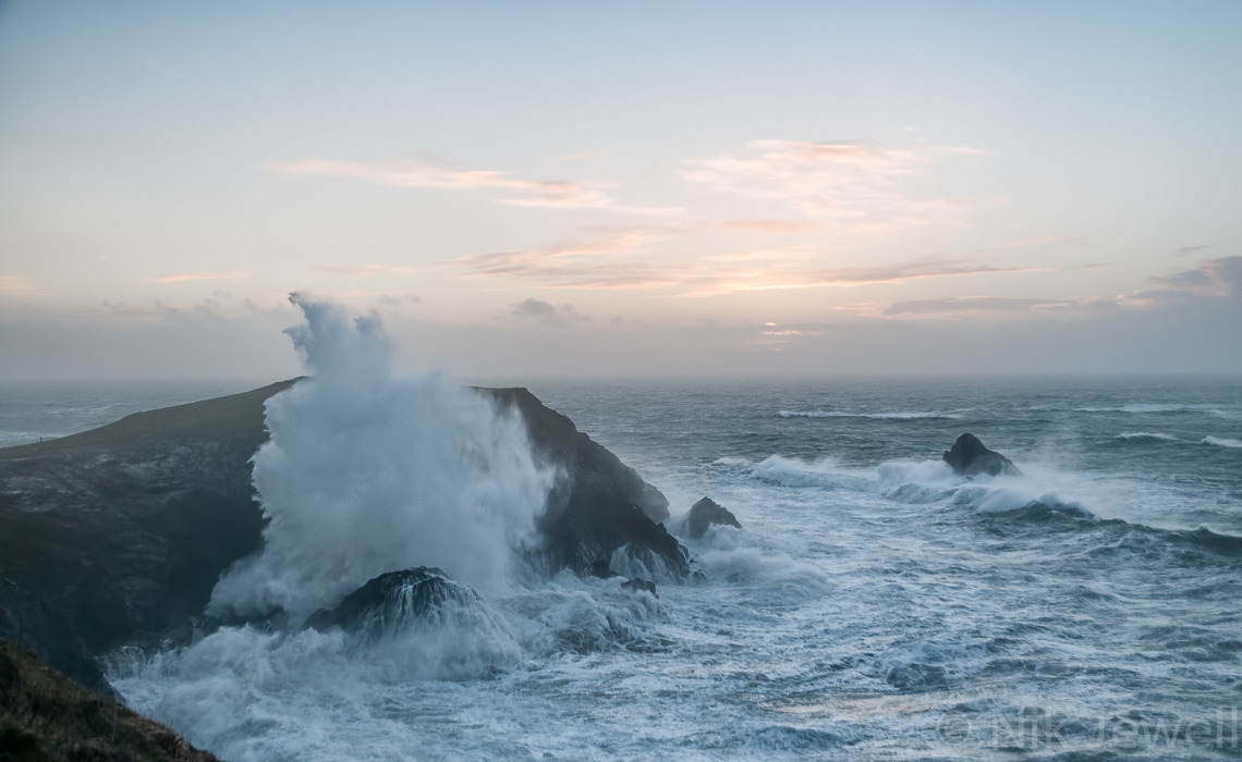 Image of massive wave breaking at Dinas Head