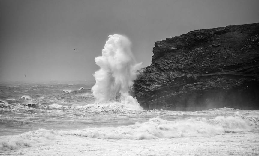 A 'bomb' going off; massive spray on Lower Penhallic Point near Trebarwith Strand in North Cornwall