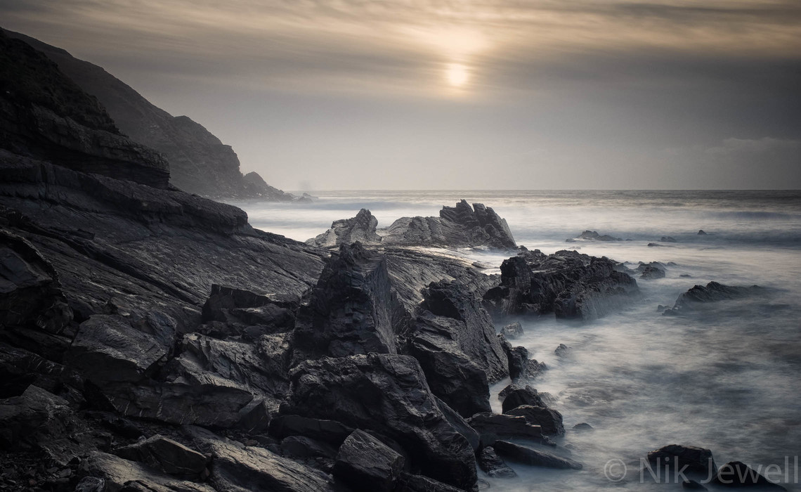 A long exposure of the Saltstone, a rock that lies between Wanson Mouth and Foxhole Point near Bude in North Cornwall