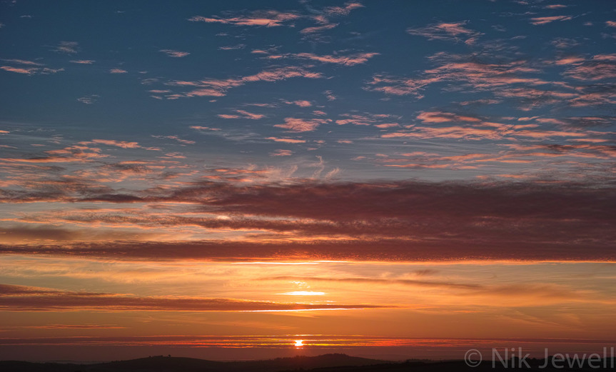 Dawn from Penhalt Cliff between WIdemouth Bay and Millook Haven near Bude in North Cornwall