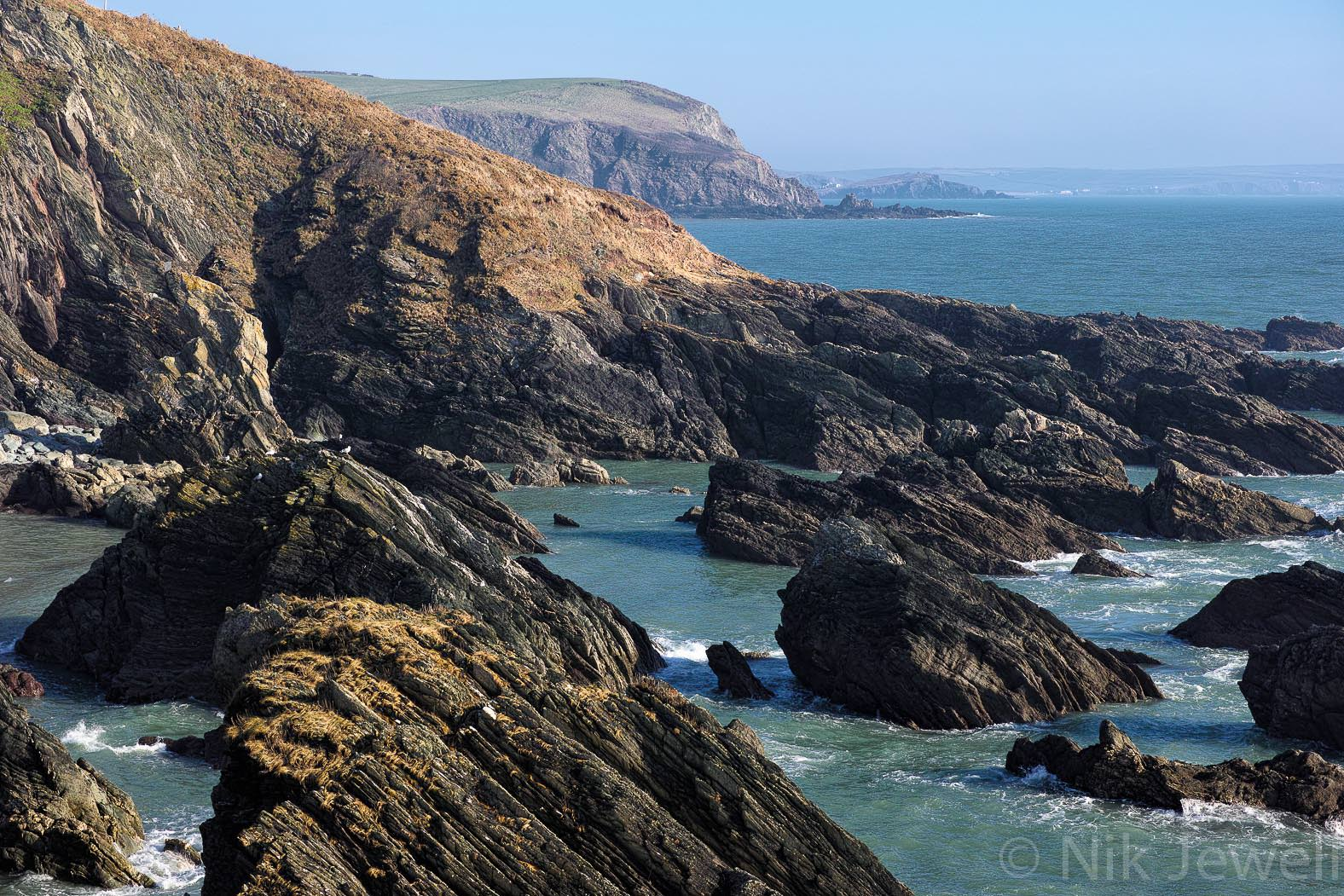 The jagged rocks of Bugle Hole near Mothecombe in the South Hams of Devon