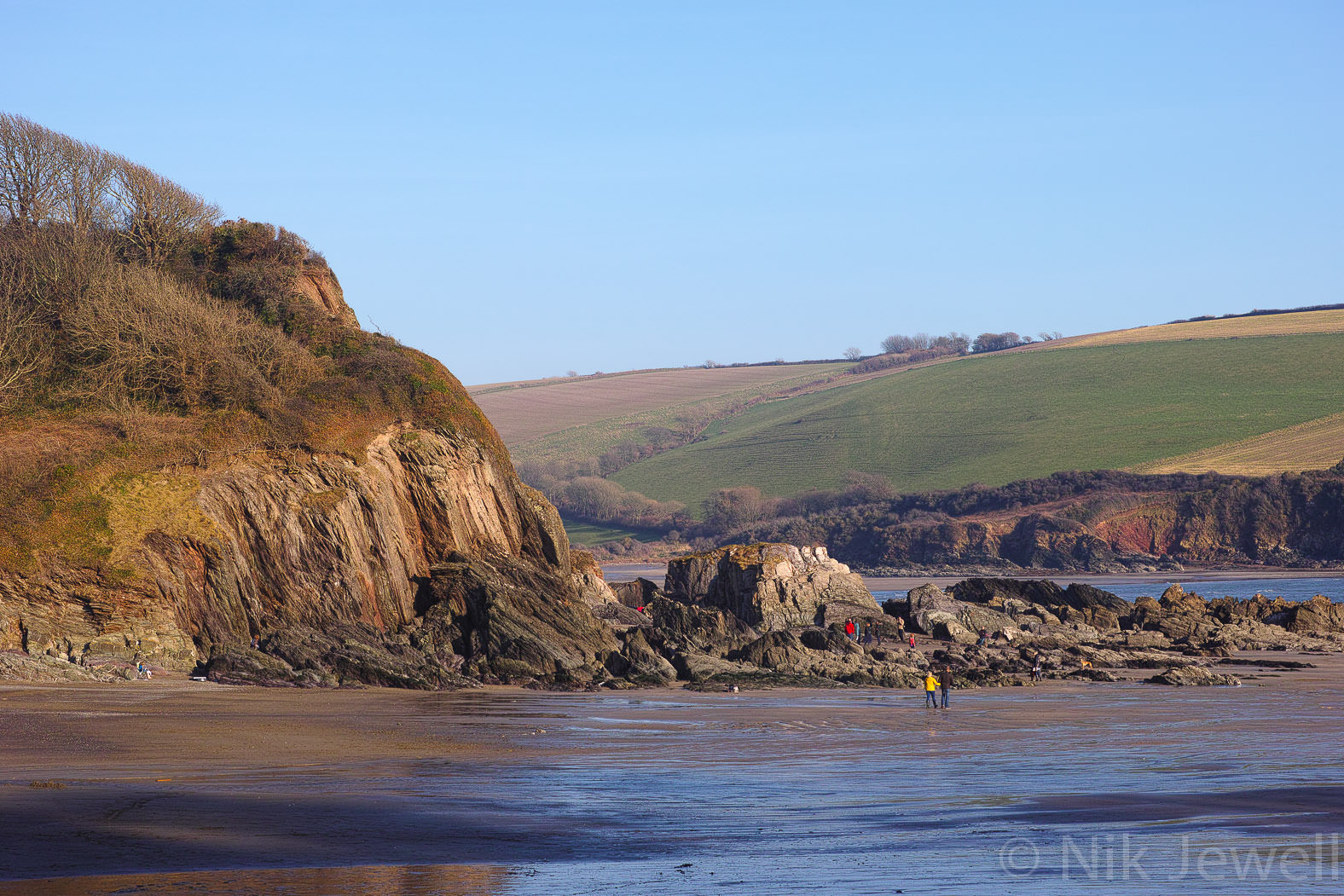 Meadowsfoot Beach, Owen's Hill and Owen's Point at the mouth of the Erme Estuary in the Soutrh Hams of Devon