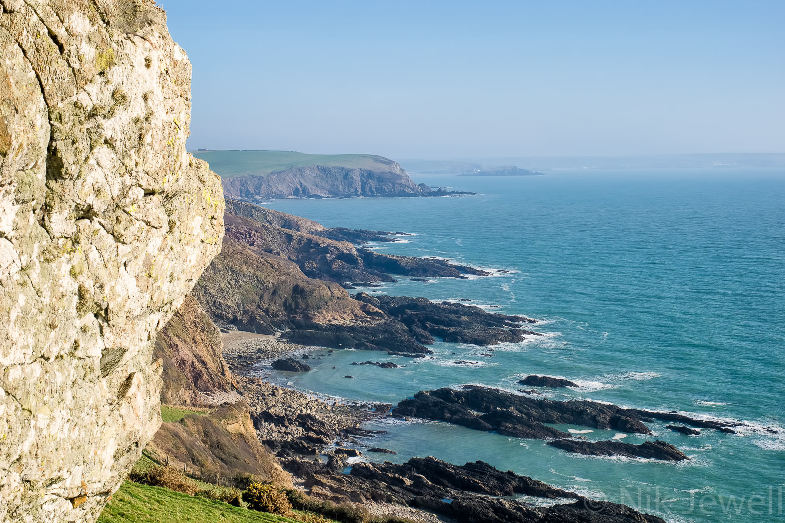 Looking East towards Burgh Island from St Anchorite's Rock in the South Hams of Devon.