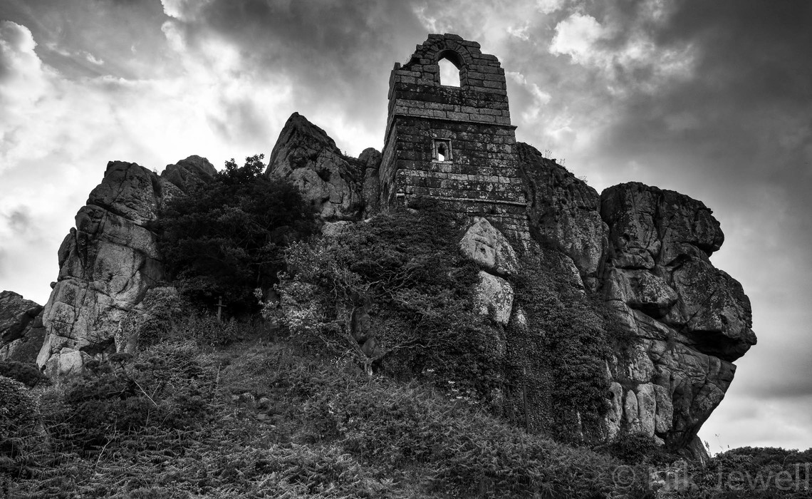 Spooky HDR image of the Chapel of St Michael on the rock at Roche in central Cornwall.